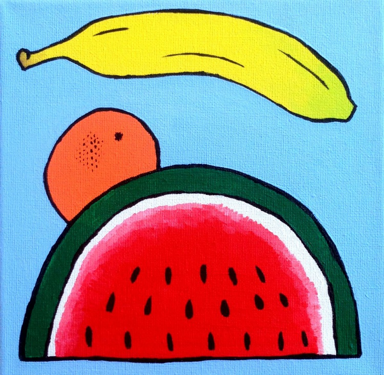 Pop Art Fruit Painting Of Watermelon Orange and Banana - Image 0