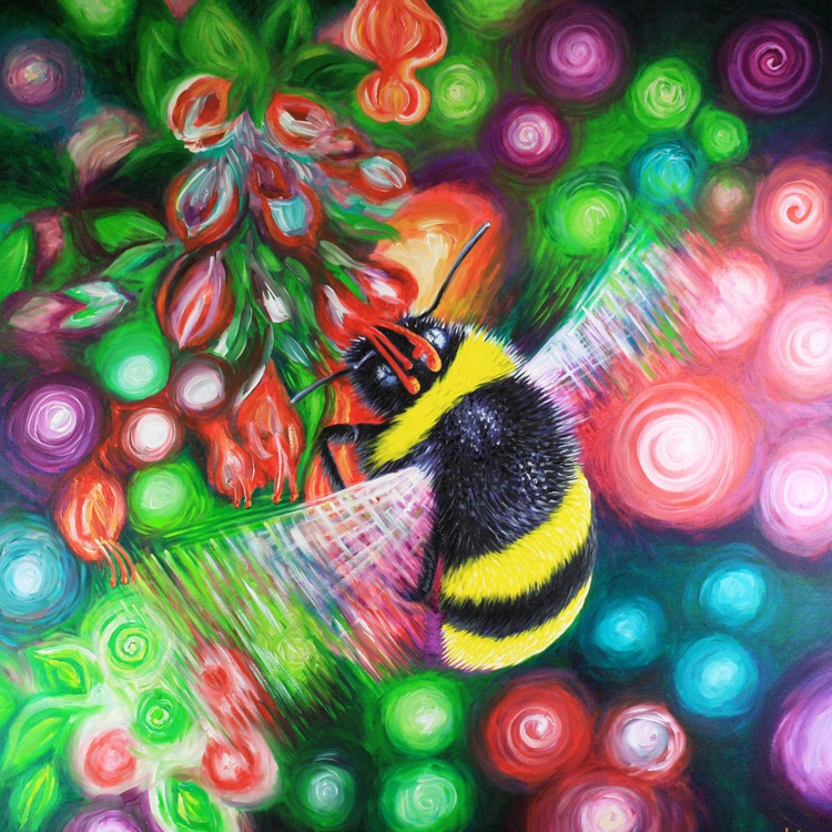 Buff-tailed Bumblebee and Summer Flowers - Image 0