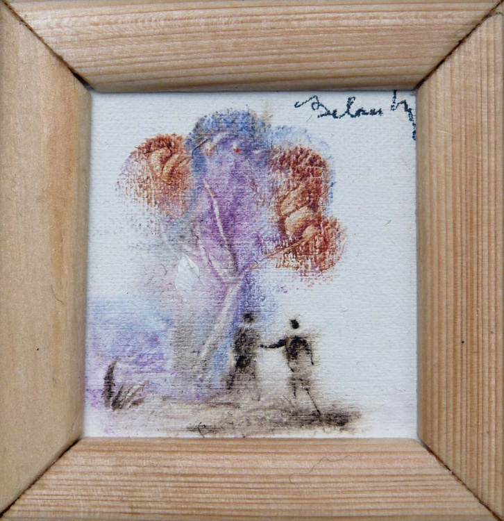 Encounter, miniature oil painting on canvas 7x7 cm framed and ready to hang - Image 0