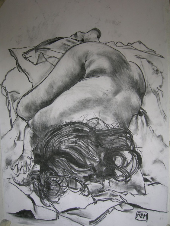 Female nude lying on her front - Image 0
