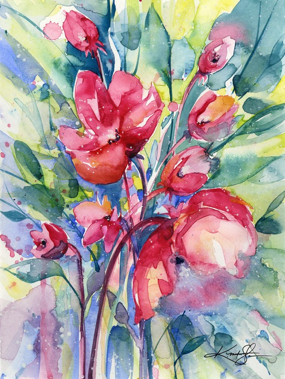 Alluring Blooms 6 - Abstract Floral Watercolor by Kathy morton Stanion - Image 0