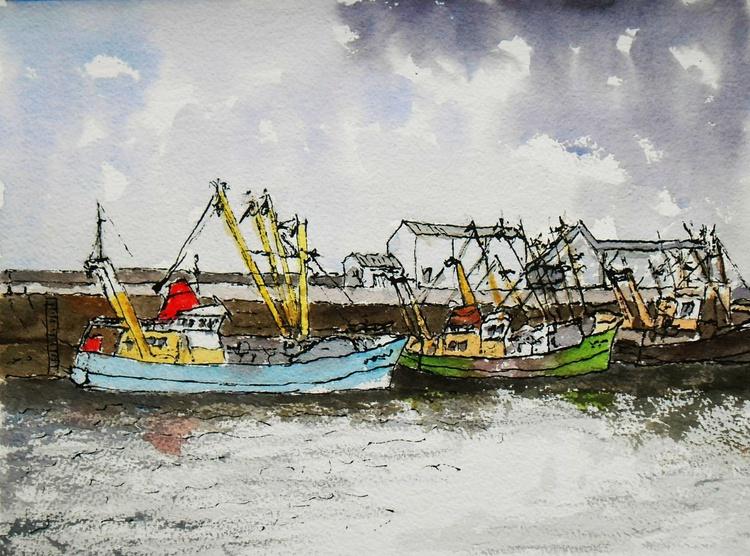 Fishing Boats at Killmore Quay, Wexford, Ireland. An original pen and watercolour painting - Image 0
