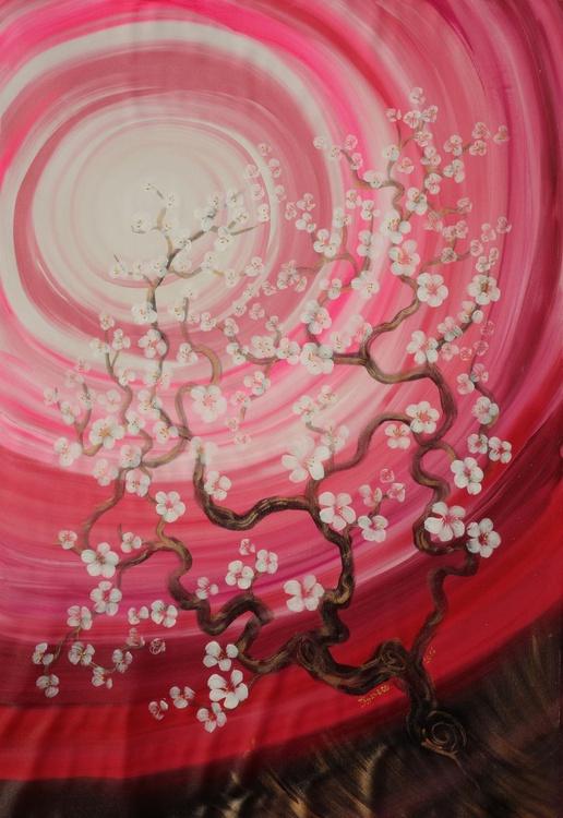 Cherry blossom tree Sakura Large painting 110x160 cm unstretched canvas t80 pink art by artist Ksavera - Image 0