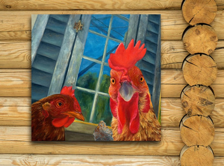 Original artwork Rooster, Animals and birds, Portrait of rooster - Image 0