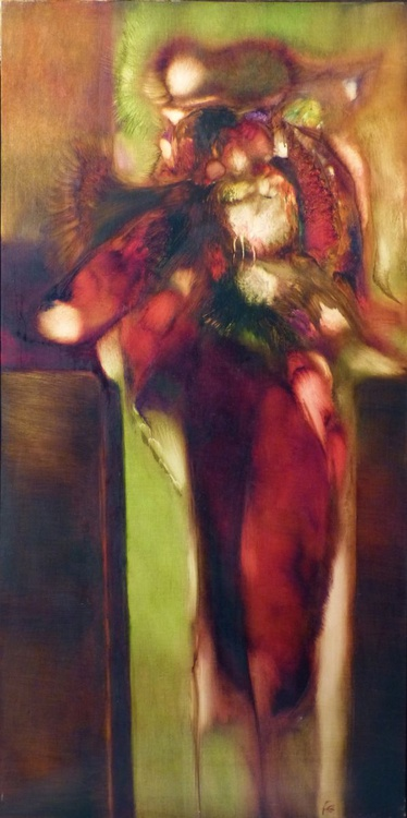 Commotion, oil on canvas, 120x60 cm, ready to hang - Image 0
