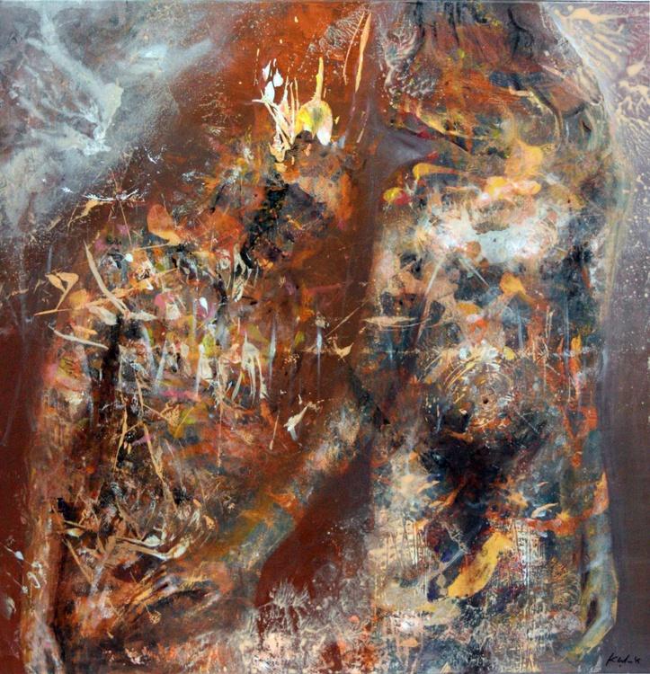 LARGE ONIRIC NIGHT COUPLE IN LOVE PRIMITIVE MARK BIZZARE PERENNIAL RUST ART BY MASTER KLOSKA - Image 0