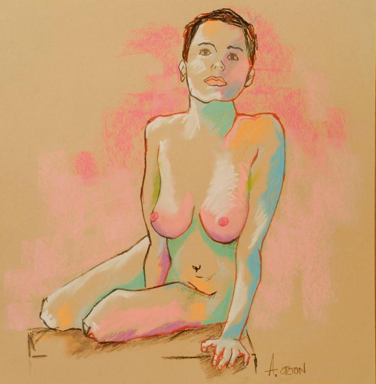 Nude Art Female Nude Figure Study Original Charcoal Pastel Life Drawing - Image 0