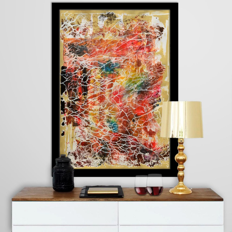 Abstract Home Decor 099 - White Infection - Acrylic Abstract Art Painting On A1 Big Size Paper - Image 0