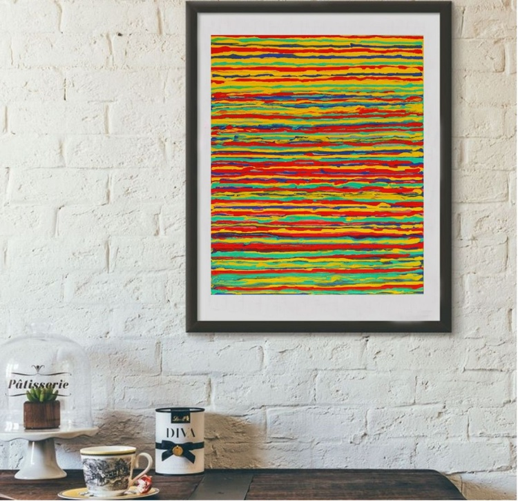 Abstraction Colors of Summer, 40x30 cm, original artwork, FREE SHIPPING - Image 0