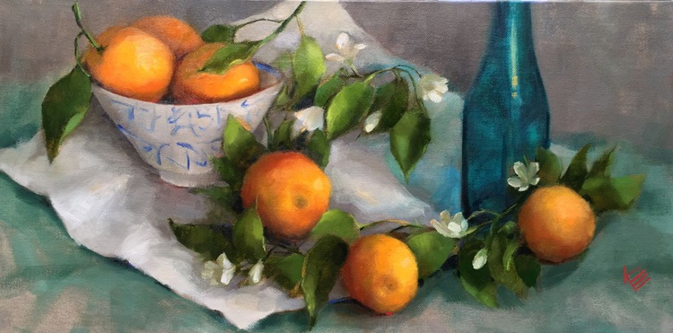 Oranges with blossoms & Asian Bowl  Still life - Image 0