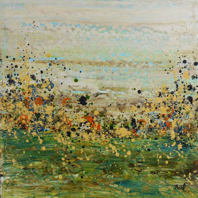 """Scattered Meadow Rue - 12x12"""" - READY-TO-HANG - Image 0"""