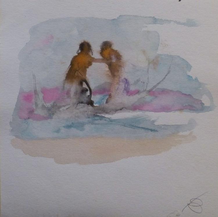 Splashing in the sea, 24x24 cm - Image 0