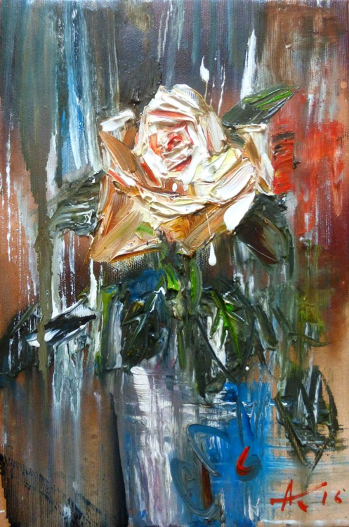 One rose, oil painting 20x30 cm - Image 0