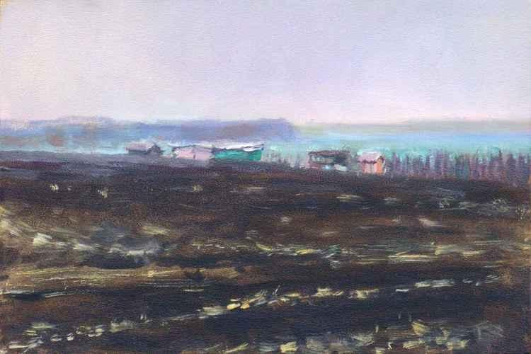 A Vineyard in a field (winter fog)