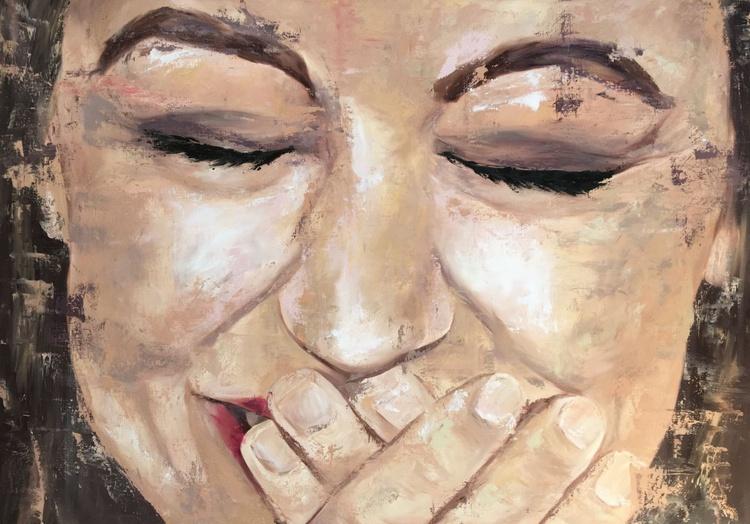 ORIGINAL ARTWORK WOMAN SMILING,HAPPY LAUGHING YOUNG WOMAN - Image 0