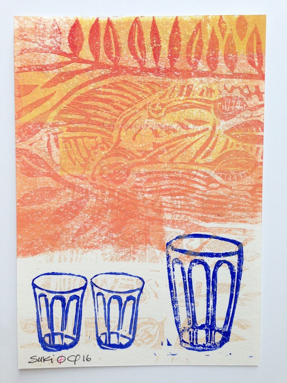 "Series ""LittleKitchenArt"": 3 Blue Glasses With Orange - Image 0"