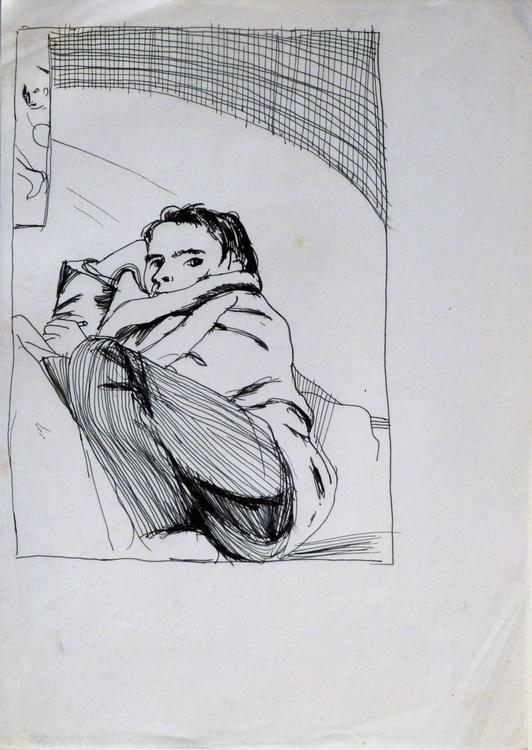 Self-portrait with a mirror, 21x29 cm - Image 0
