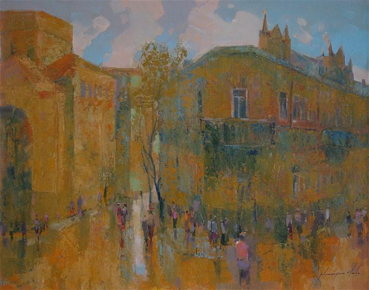 Yerevan City- Armenia, Original oil Painting, One of a kind, Signed, Handmade art. - Image 0