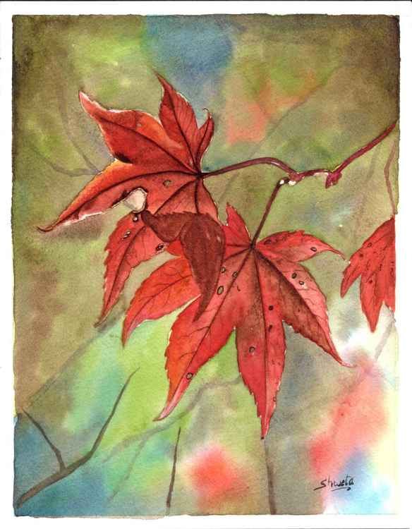 Autumn Leaf Watercolour Painting -