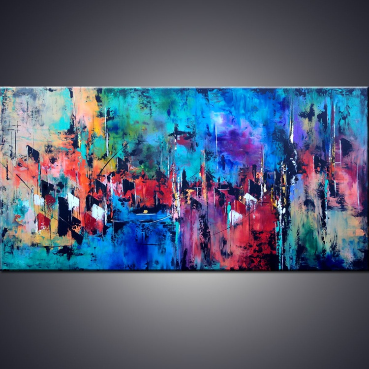 """ CITY BY THE BAY"" 60"" Large Abstract Cityscape Art Painting, Colorful Original Contemporary modern Blues,Reds, Oranges, Gold, Pallete Knife - Image 0"