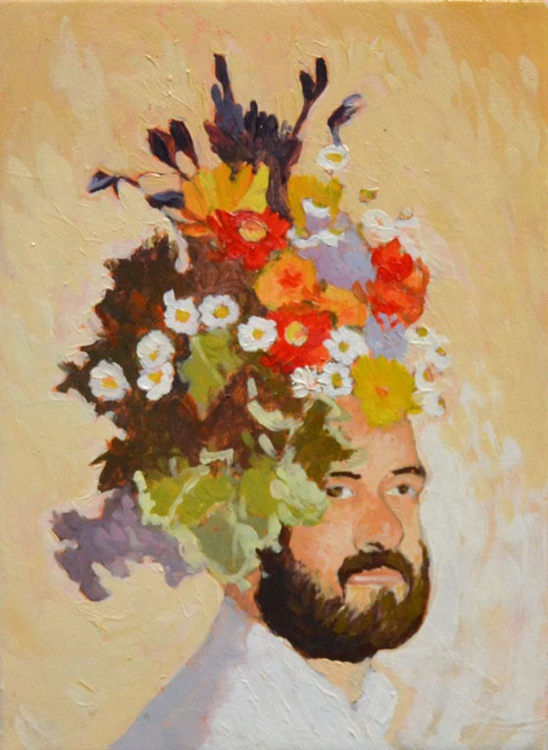 Flower Head Portrait of Blooming Man - Image 0