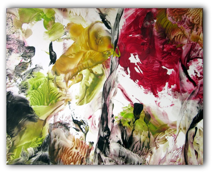 """Abstract Floral on Paper 9.5""""x12"""" #2 - Image 0"""