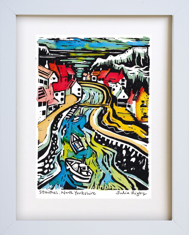 Staithes - hand coloured lino print (alcohol inks) - Image 0