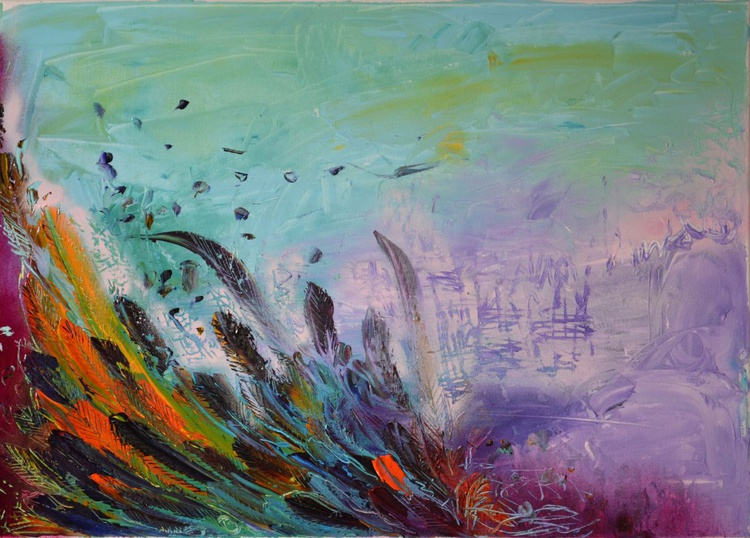Dearing to Claim the Sky - 19,4x27,6 inches, Large Modern Ready to Hang Abstract Painting, Office Wall Decoration - Image 0