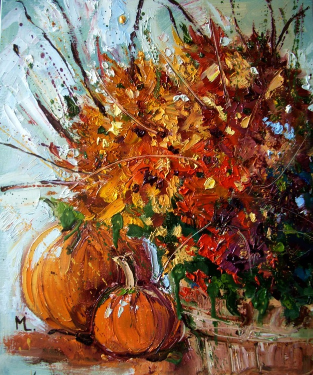 """ AUTUMN colours ""  ABSTRACT original OIL painting PUMPKIN FALLpalette knife GIFT MODERN URBAN ART OFFICE ART DECOR HOME DECOR GIFT IDEA - Image 0"