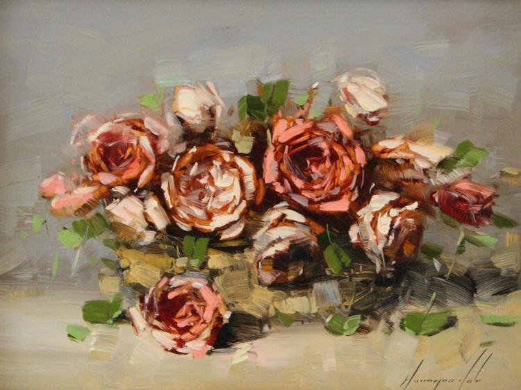 Roses Original oil Painting Framed - Image 0