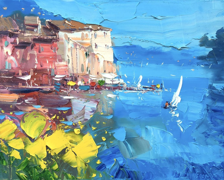 Portofino Painting Unique Home Decor Impressionist Art Landscape Painting Original Gifts for Wedding Gifts for Women Christmas Gifts Ideas - Image 0