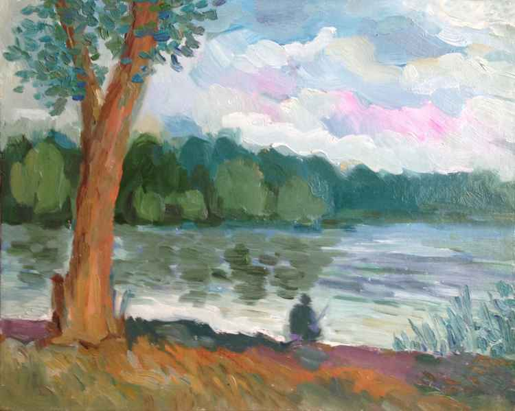 Trees. River's bank. Summer. -