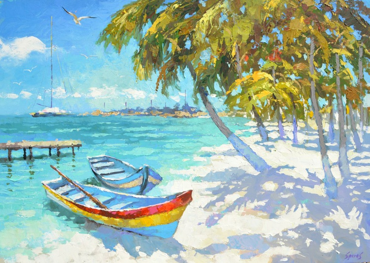 Fishing boats on the beach - original painting by Dmitry Spiros, size 100cm x 70cm, 2015 - Image 0