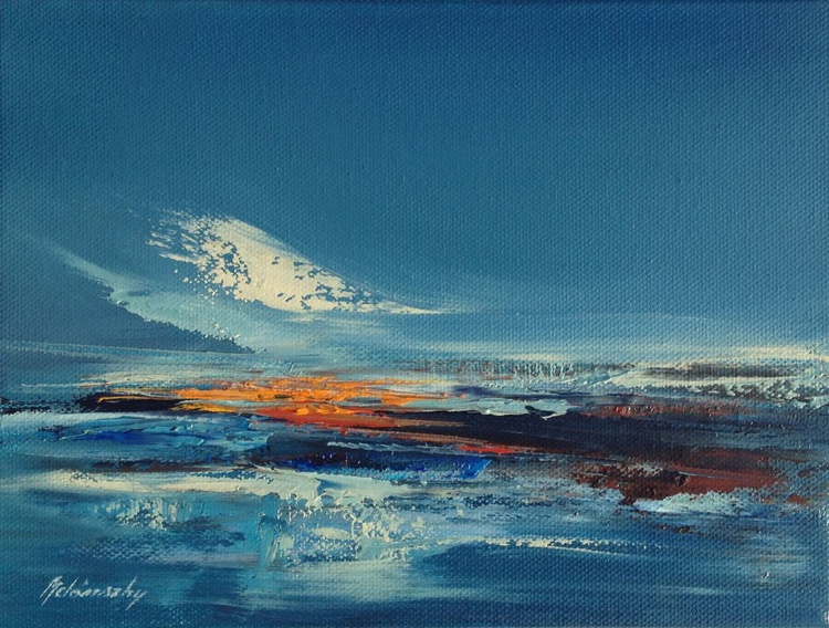 Red Horizon II. - 18 x 24 cm abstract landscape oil painting in blue and red - Image 0
