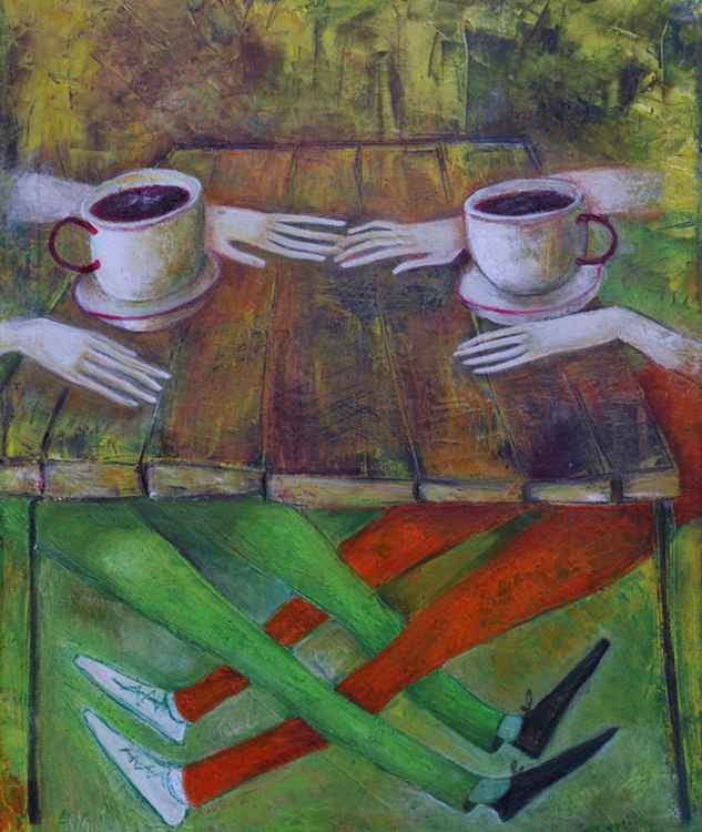 .Cafe 2013year21x17inOriginal Painting Oil on Canvas FOR SALE
