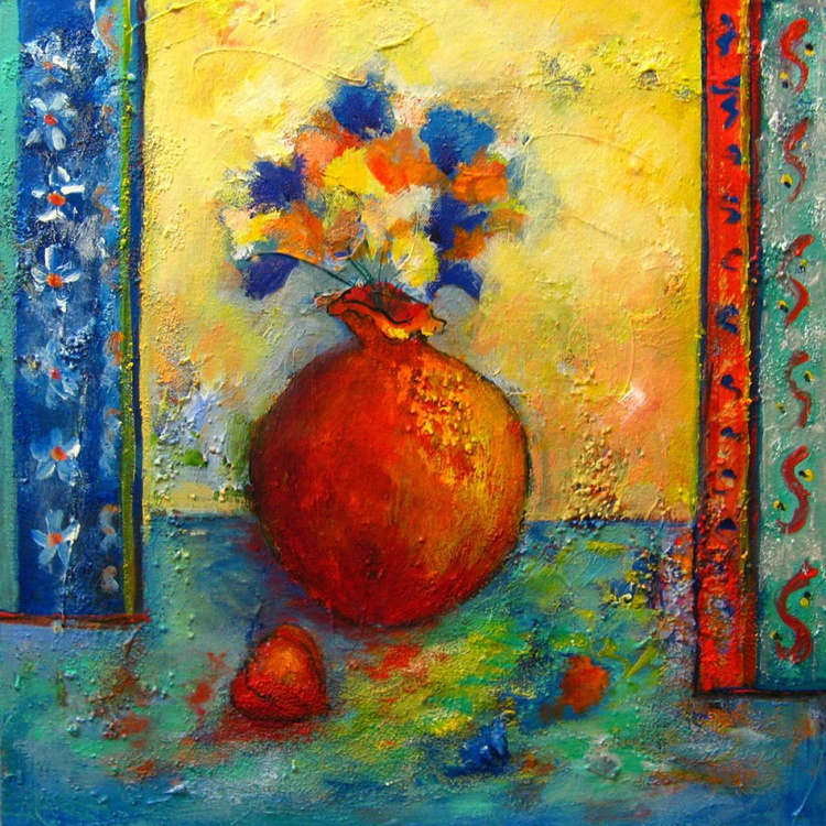 Terracotta pot and flowers - Image 0