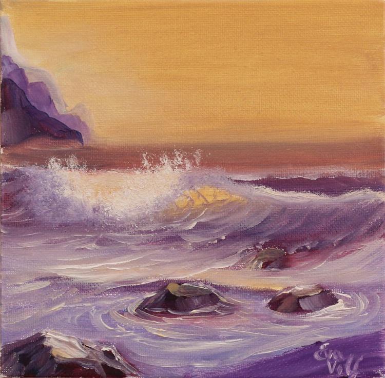 "Ocean Waves VIII 6x6"" small seascape oil painting on deep canvas - Image 0"
