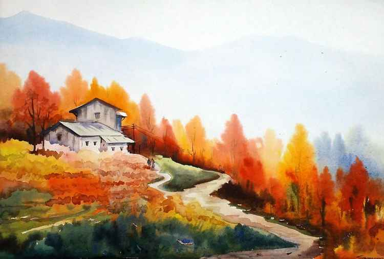 Beauty of Autumn Landscape - Watercolor on Paper