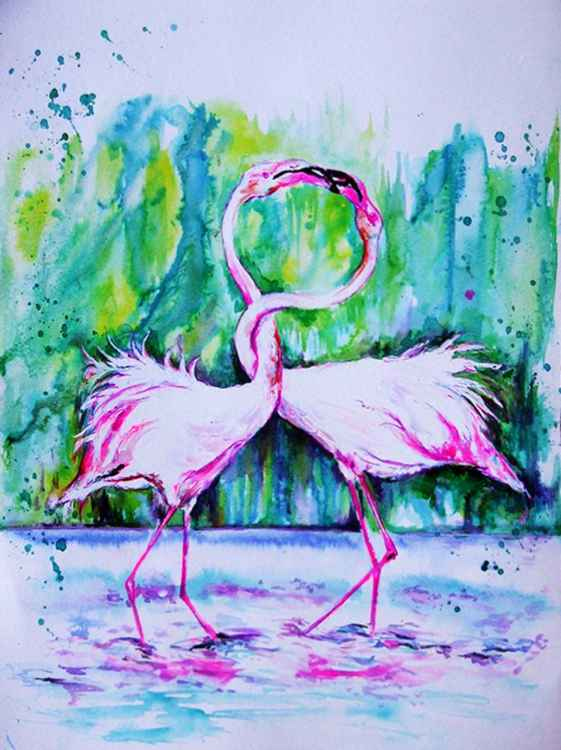 Flamingos/ Watercolour