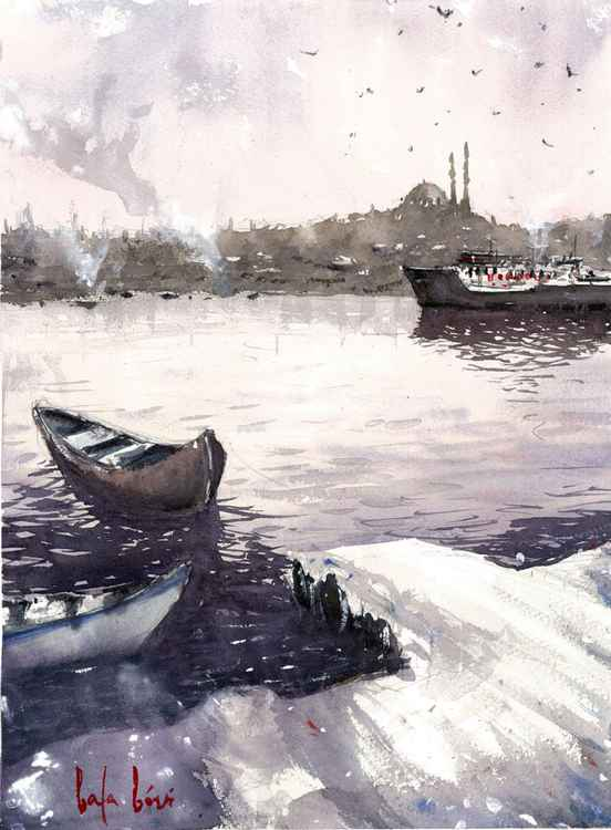 bosphorus original watercolor painting, istanbul