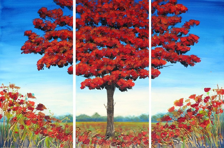 Red Tree in Bloom - Image 0
