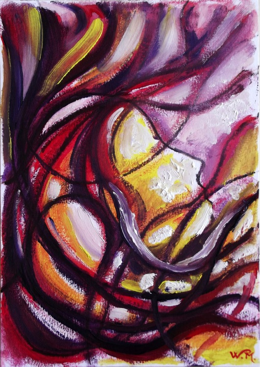 DREAMING IN THE WIND - Abstract Figurative Painting - 20.5x30 cm - Small piece suitable for home decoration - Image 0