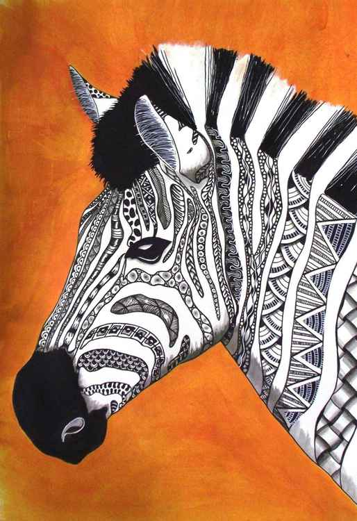 Sunset zentangle zebra -