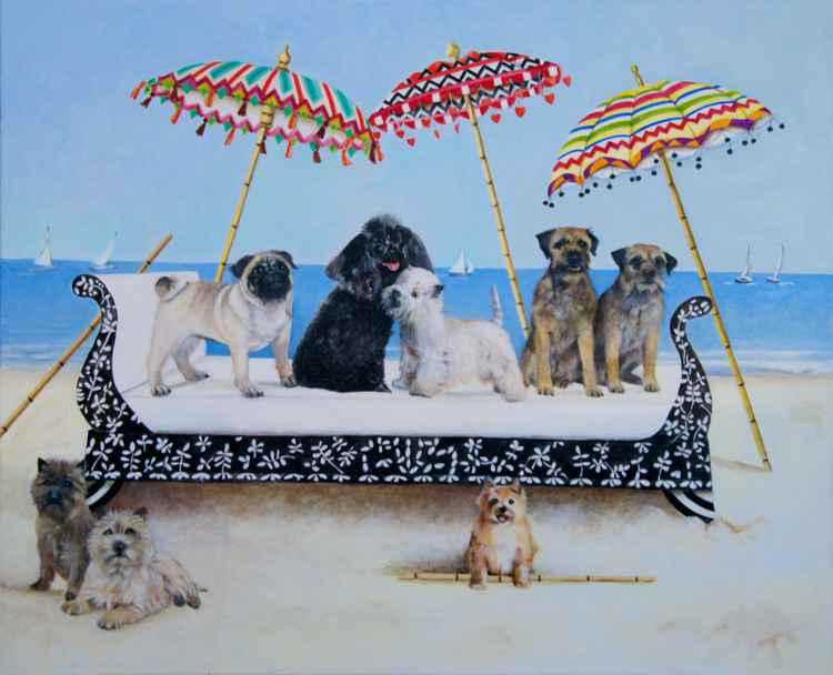 Small Dogs on a Daybed -