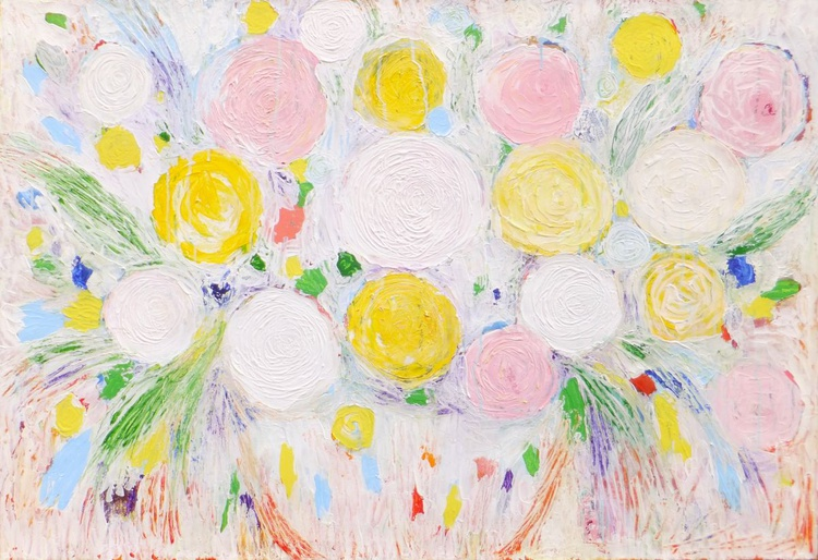 """Original abstract  """"Bouquet of roses from Marseille"""" large original painting - Image 0"""