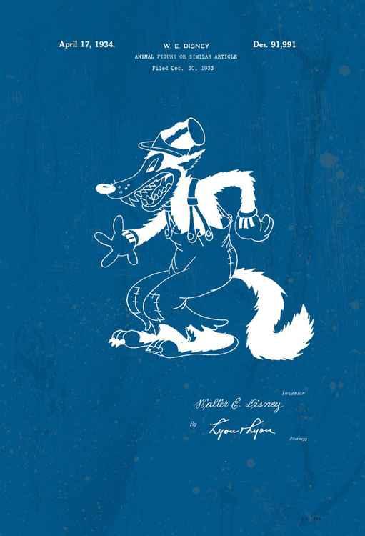 Disney Big Bad Wolf character patent - Blue - circa 1934