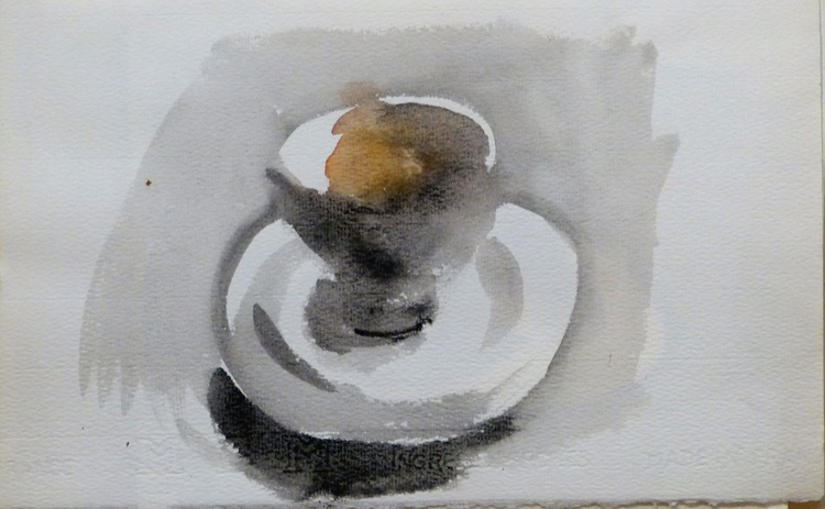 Still Life with A Tea Cup and an Orange #2, 28x17 cm - Image 0