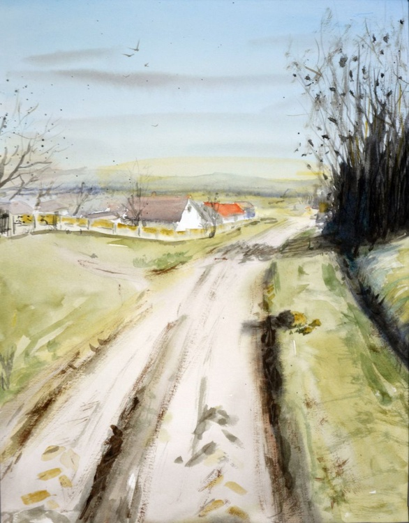 Road through fields - original watercolor landscape painting by Nenad Kojić - Image 0