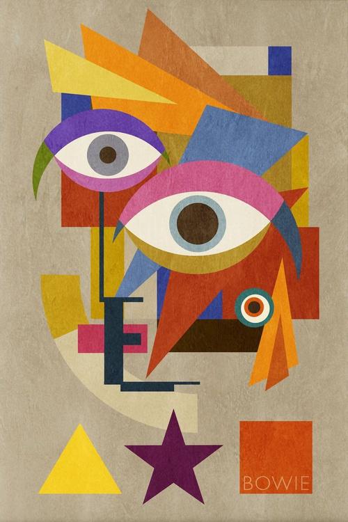 Bowie Bauhaus FIVE, David Bowie Portrait, Unique Monoprints 1/1 - Image 0