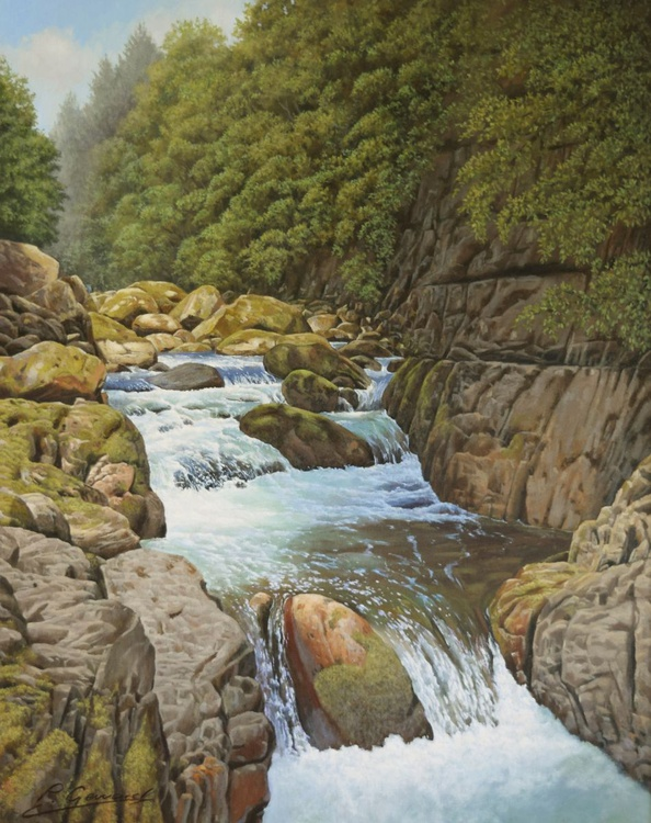 """""""SWALLOW FALLS"""" Photorealistic landscape oil painting - Image 0"""